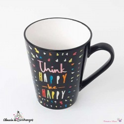 Taza negra «Think Happy be...